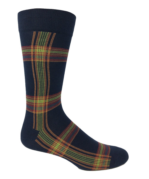 Vagden Men's Plaid Cotton Dress Socks