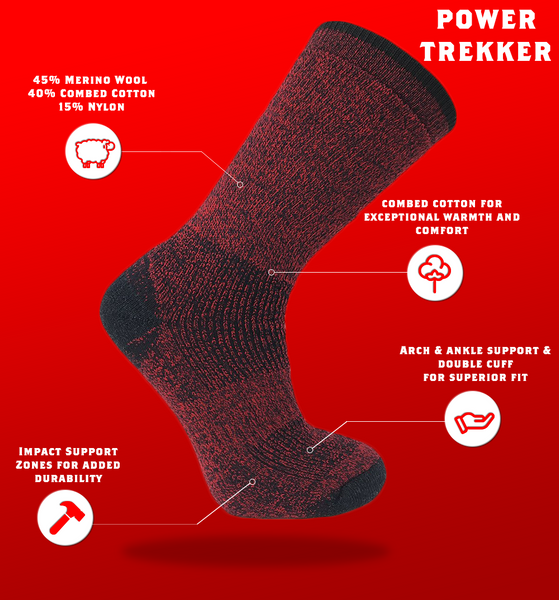 "J.B. Field's Hiking ""Power Trekker"" Merino/Combed Cotton Boot Sock"