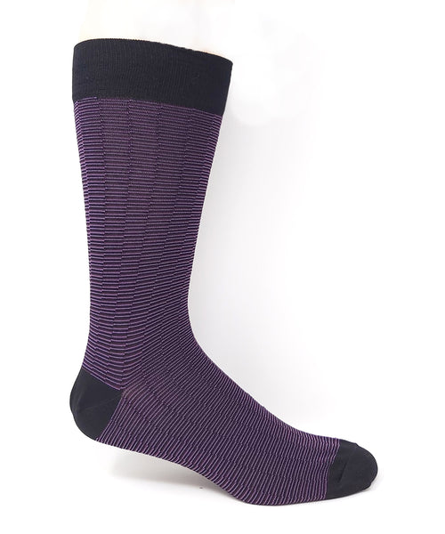 "Vagden Men's Purple ""Zigzag Stripe"" Bamboo Dress Socks"