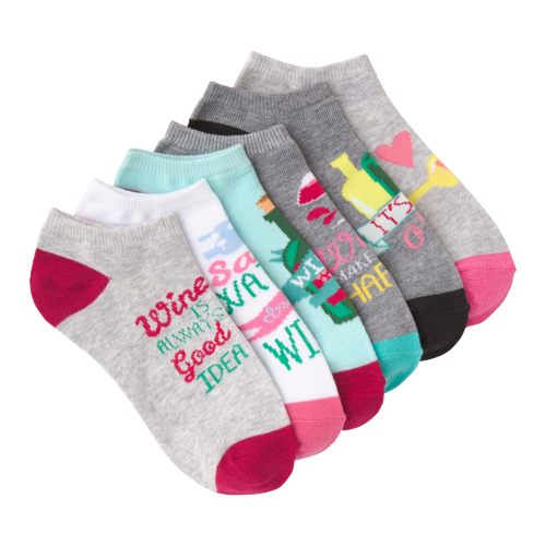 Women's Wine Time Ankle Socks by K Bell (6pk)
