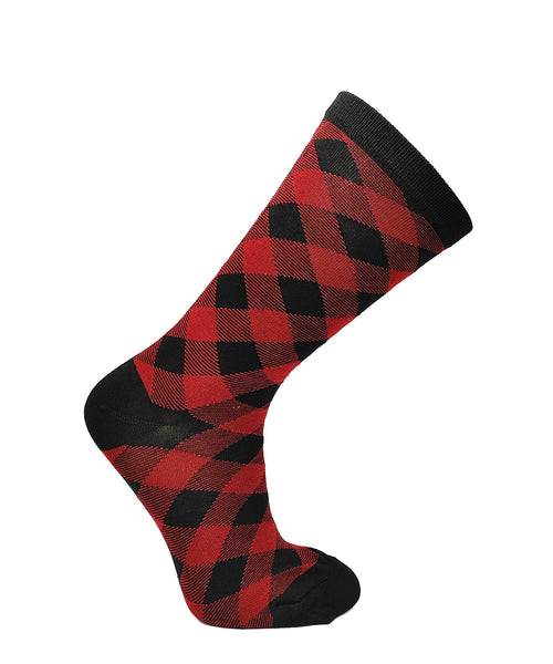 Women's Red Plaid Bamboo Casual Sock by Point Zero