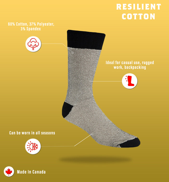 "J.B. Field's Men's ""Resilient Cotton"" Work Sock- CLEARANCE 3PK"