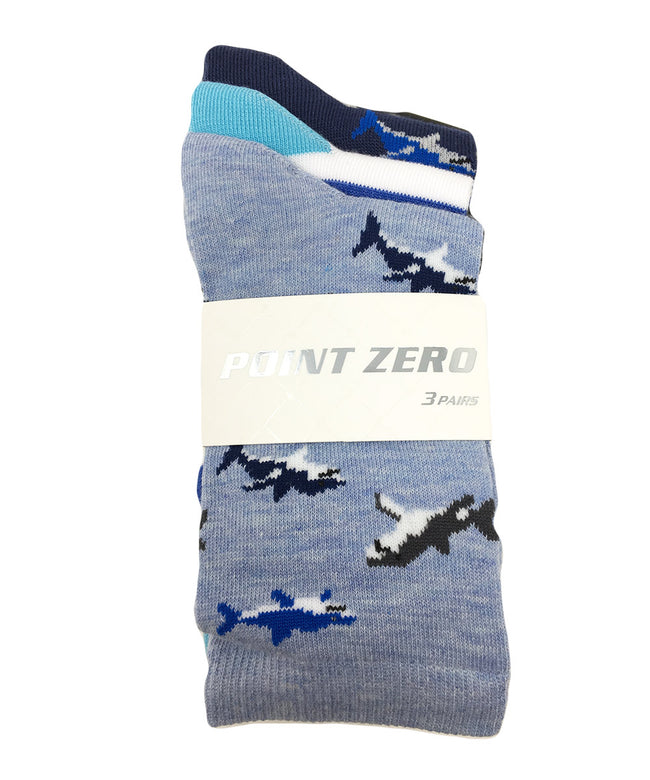 "Kid's Assorted ""Swimming Sharks"" Socks - 3PK"