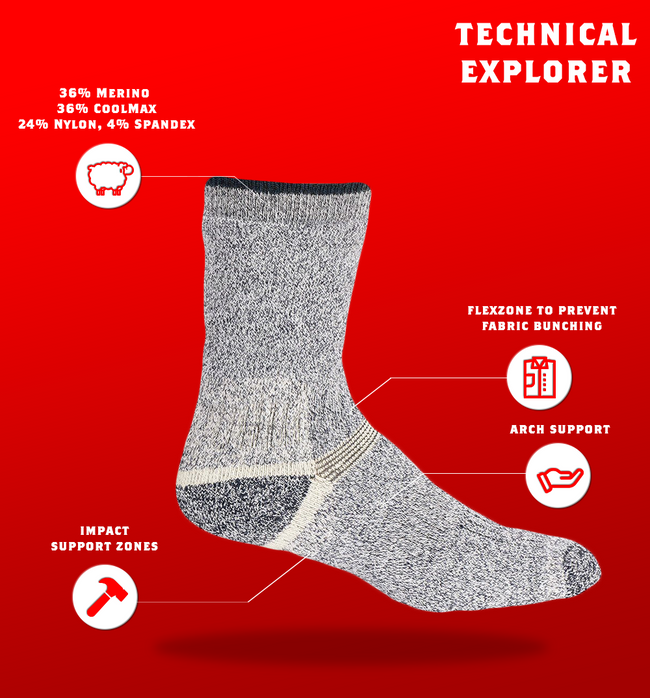 "J.B. Field's ""Technical Explorer"" Merino & Coolmax Crew Sock"