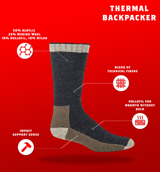 "J.B. Field's ""Thermal Backpacker"" Acrylic & Merino Boot Sock - 6 Pairs -CLEARANCE"