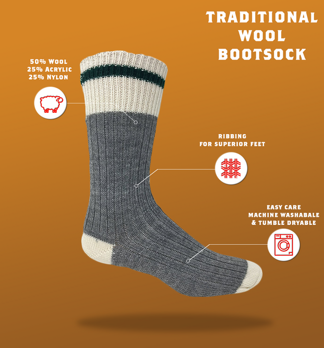 "J.B. Field's Casual ""Traditional Wool"" Boot Sock"