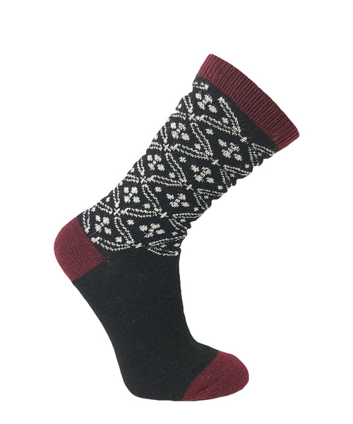 Vagden Women's Red & Black Patterned Angora Blend Sock