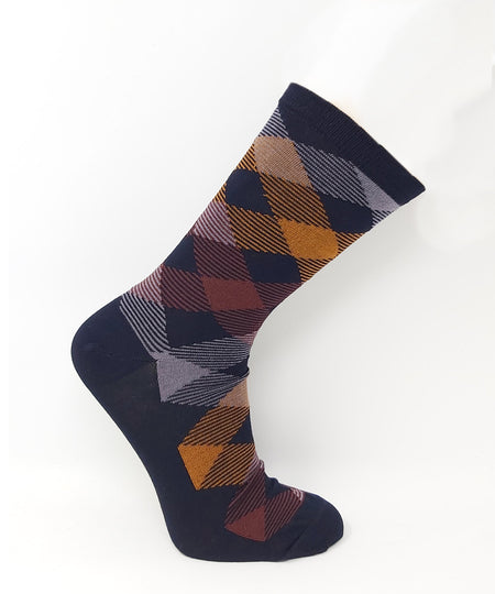 Wellness Men's Non-Elastic Striped Square Cotton Socks