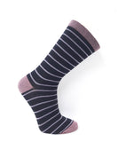 Vagden Women's Simple Stripe Cotton Dress Socks