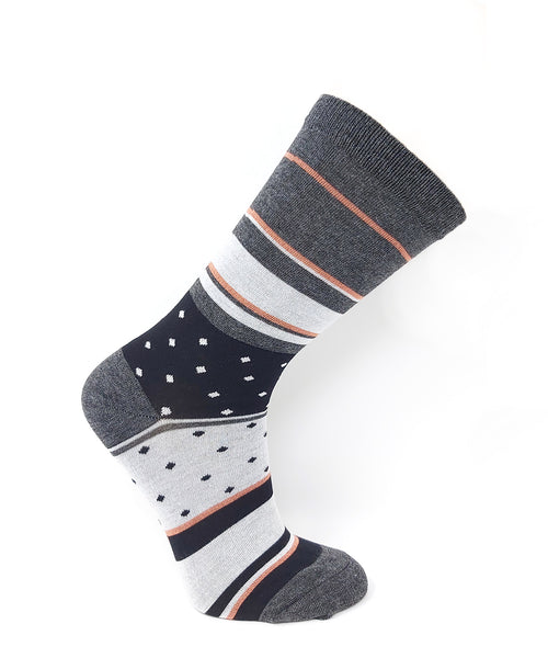 Vagden Women's Grey & Peach Stripes & Dots  Bamboo Socks