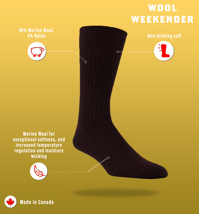 "J.B. Field's Casual ""Wool Weekender"" 96% Merino Wool Sock"