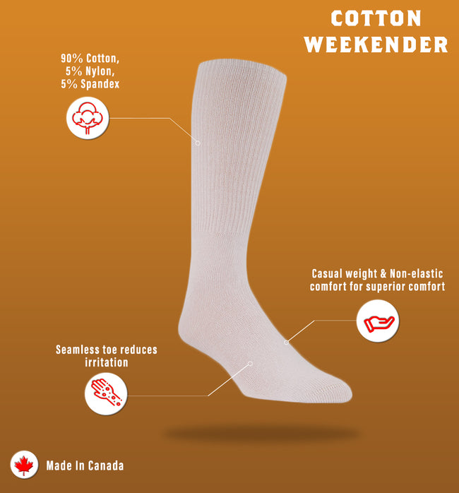 "J.B. Field's Casual ""Cotton Weekender"" 90% Cotton Non-Elastic Sock"