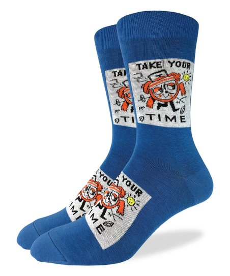 "Unisex ""Take Your Time"" Cotton Crew Socks by Good Luck Sock"