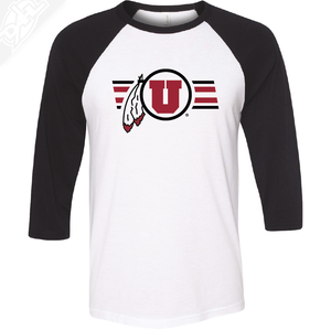 Circle and Feather w/Two color Utah Stripe - 3/4 Sleeve Baseball Shirt