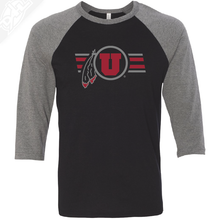 Load image into Gallery viewer, Circle and Feather w/Two color Utah Stripe - 3/4 Sleeve Baseball Shirt