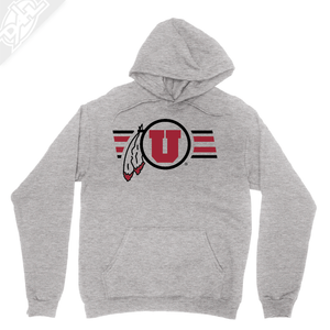 Circle and Feather w/Two color Utah Stripe - Hoodie
