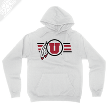 Load image into Gallery viewer, Circle and Feather w/Two color Utah Stripe - Hoodie