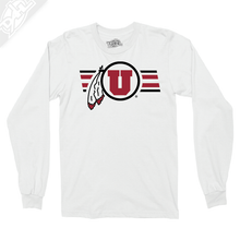 Load image into Gallery viewer, Circle and Feather w/Two color Utah Stripe - Long Sleeve