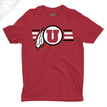 Load image into Gallery viewer, Circle and Feather w/Two color Utah Stripe - Boys T-Shirt