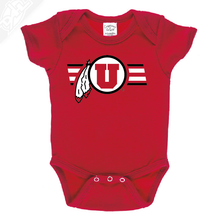 Load image into Gallery viewer, Circle and Feather w/Two color Utah Stripe - Onesie