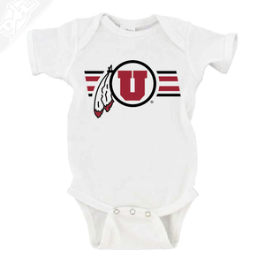Circle and Feather w/Two color Utah Stripe - Onesie