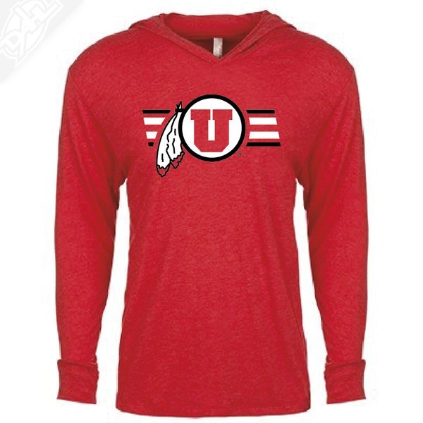 Circle and Feather w/Two color Utah Stripe - T-Shirt Hoodie