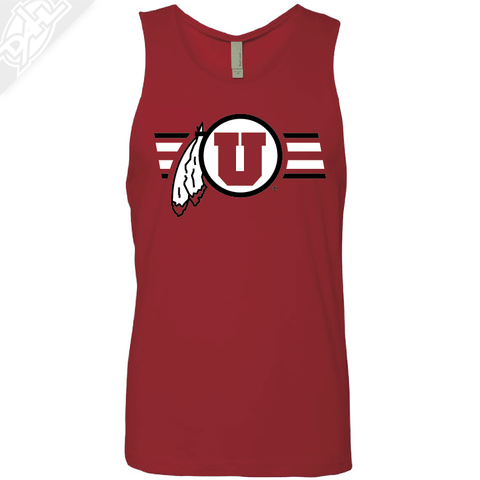Circle and Feather w/Two color Utah Stripe - Mens Tank Top