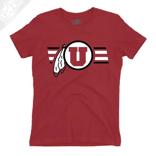 Circle and Feather w/Two color Utah Stripe - Womens T-Shirt