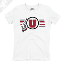 Load image into Gallery viewer, Circle and Feather w/Two color Utah Stripe - Girls T-Shirt