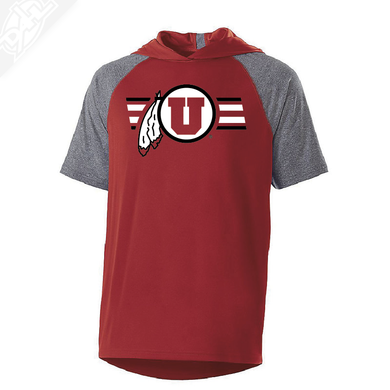 Circle and Feather w/Two color Utah Stripe - Echo Short Sleeve Hoodie