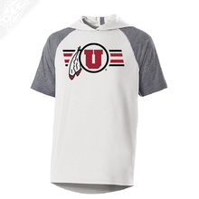 Load image into Gallery viewer, Circle and Feather w/Two color Utah Stripe - Echo Short Sleeve Hoodie