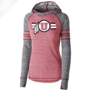 Circle and Feather w/Two color Utah Stripe - Womens Red Advocate Hoodie