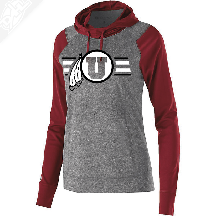 Circle and Feather w/Two color Utah Stripe - Womens Echo Hoodie