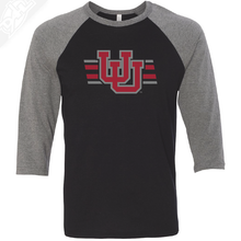 Load image into Gallery viewer, Interlocking UU w/Utah Strpe Two Colors - 3/4 Sleeve Baseball Shirt