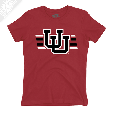 Interlocking UU w/Utah Strpe Two Colors - Womens T-Shirt