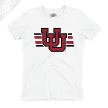Load image into Gallery viewer, Interlocking UU w/Utah Strpe Two Colors - Womens T-Shirt