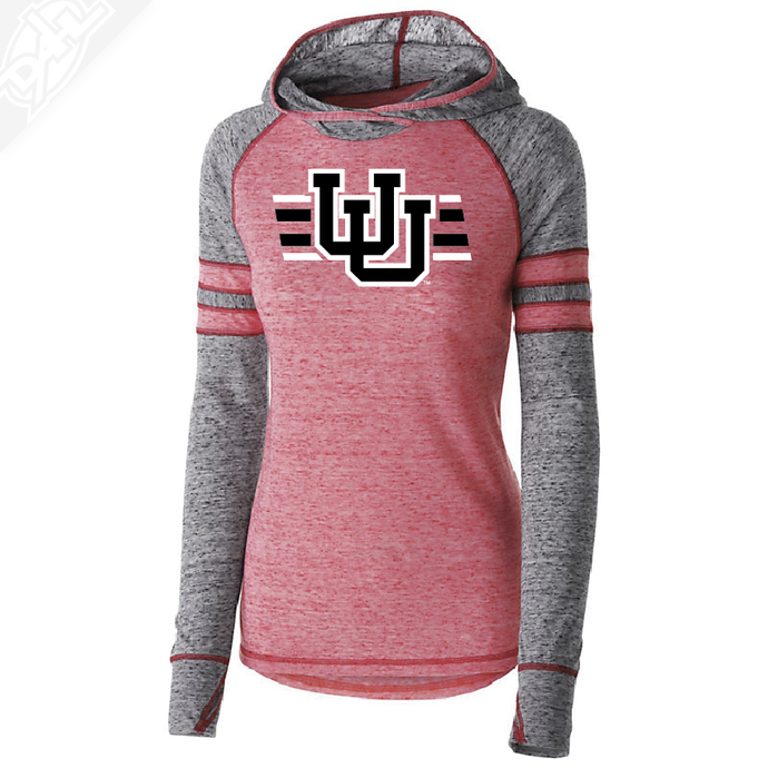 Interlocking UU w/Utah Strpe Two Colors - Womens Red Advocate Hoodie