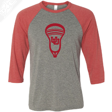 Interlocking UU Lacrosse Head - 3/4 Sleeve Baseball Shirt