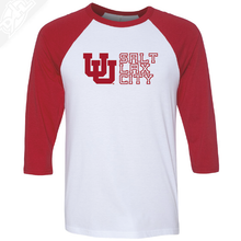 Load image into Gallery viewer, Interlocking UU Salt Lax City - 3/4 Sleeve Baseball Shirt