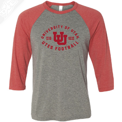 University of Utah Utes Football - Interlocking UU  - 3/4 Sleeve Baseball Shirt