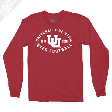 University of Utah Runnin' Utes Football - Interlocking UU  - Long Sleeve