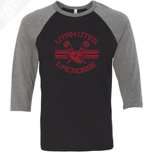 Load image into Gallery viewer, Utah Utes Lacrosse - 3/4 Sleeve Baseball Shirt