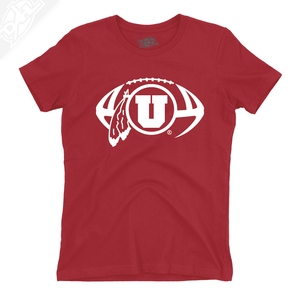 Circle and Feather Football Single Color - Womens T-Shirt