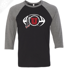 Load image into Gallery viewer, Circle and Feather Football - 3/4 Sleeve Baseball Shirt