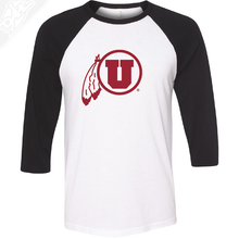 Load image into Gallery viewer, Circle and Feather Single Color - 3/4 Sleeve Baseball Shirt