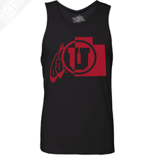 Load image into Gallery viewer, Cicle and Feather State- Mens Tank Top