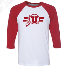Circle and Feather w/Utah Stripe Single Color - 3/4 Sleeve Baseball Shirt