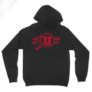 Circle and Feather w/Utah Stripe Single Color - Hoodie