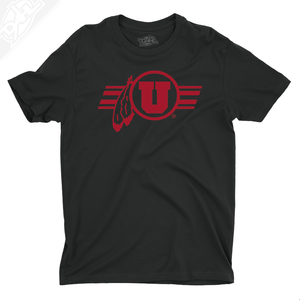 Circle and Feather w/Utah Stripe Single Color - Mens T-Shirt