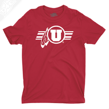 Load image into Gallery viewer, Circle and Feather w/Utah Stripe Single Color - Mens T-Shirt